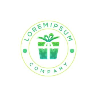 Illustration de modèle de logo de boîte-cadeau coloré