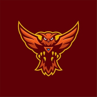 Illustration de modèle de logo de dessin animé animal hibou. jeu de logo esport vecteur premium