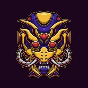 Illustration de modèle de logo de dessin animé méca crâne démon monstre. jeu de logo esport
