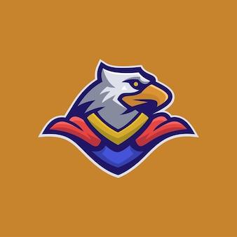Illustration de modèle de logo de dessin animé tête d'aigle. jeu de logo esport vecteur premium