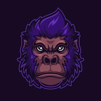 Illustration de modèle de logo de dessin animé tête d'animal gorille. jeu de logo esport