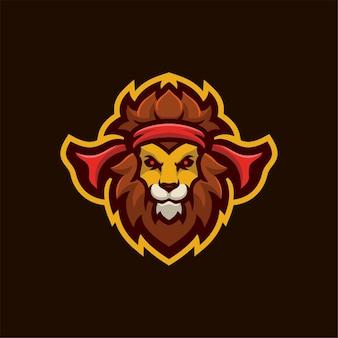 Illustration de modèle de logo de dessin animé tête d'animal lion. jeu de logo esport vecteur premium
