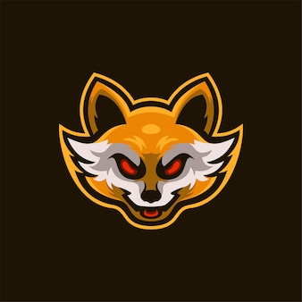 Illustration de modèle de logo de dessin animé tête d'animal renard. jeu de logo esport vecteur premium