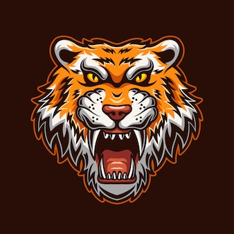 Illustration de modèle de logo de dessin animé tête d'animal tigre rugissant. jeu de logo esport