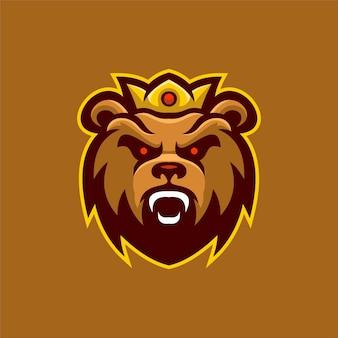 Illustration de modèle de logo de dessin animé tête animale ours. jeu de logo esport vecteur premium