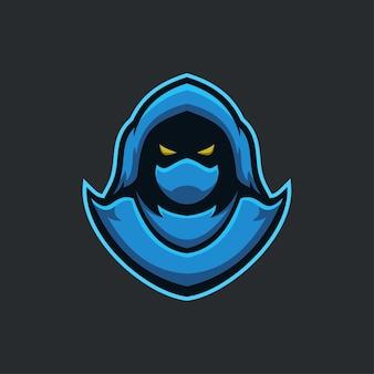 Illustration de modèle de logo de dessin animé de tête d'assassin. jeu de logo esport vecteur premium