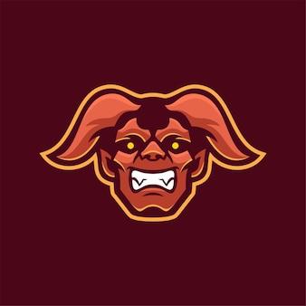 Illustration de modèle de logo de dessin animé tête de diable. jeu de logo esport vecteur premium