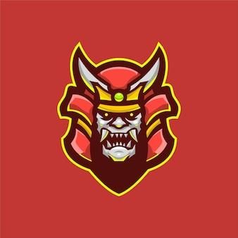 Illustration de modèle de logo de dessin animé tête de diable samouraï. jeu de logo esport vecteur premium