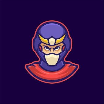 Illustration de modèle de logo de dessin animé de tête de héros. jeu de logo esport vecteur premium