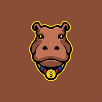 Illustration de modèle de logo de dessin animé tête d'hippopotame. esport logo gaming illustration de modèle de logo de dessin animé de tête de vecteur premium. jeu de logo esport vecteur premium