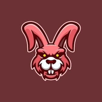 Illustration de modèle de logo de dessin animé tête de lapin. jeu de logo esport vecteur premium