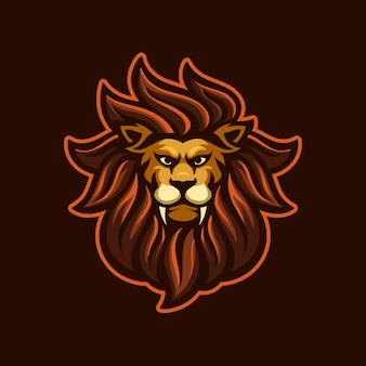Illustration de modèle de logo de dessin animé tête de lion. jeu de logo esport