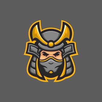 Illustration de modèle de logo de dessin animé de tête de masque de samouraï. jeu de logo esport vecteur premium