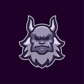 Illustration de modèle de logo de dessin animé tête de monstre. jeu de logo esport vecteur premium