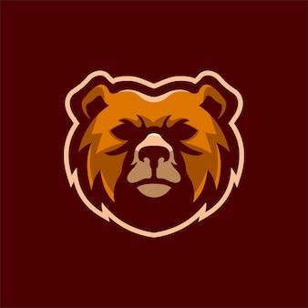 Illustration de modèle de logo de dessin animé tête d'ours. jeu de logo esport vecteur premium