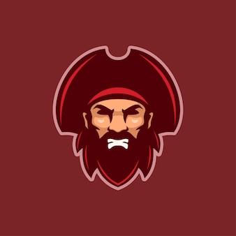 Illustration de modèle de logo de dessin animé tête de pirate en colère. jeu de logo esport vecteur premium