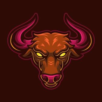 Illustration de modèle de logo de dessin animé tête de taureau en colère. jeu de logo esport