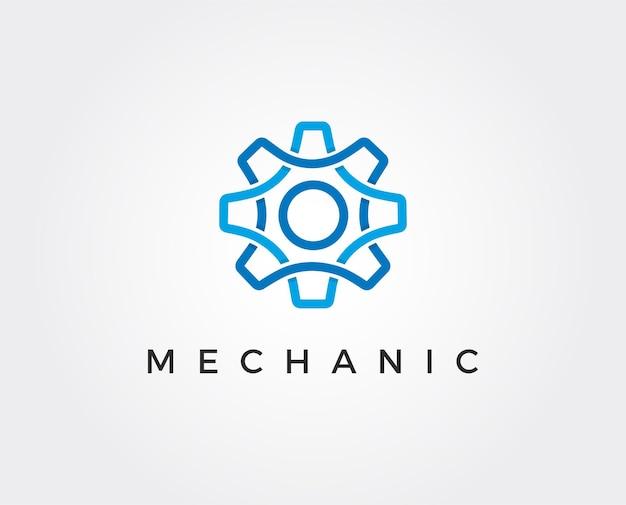 Illustration de modèle de logo d'engrenage minimal