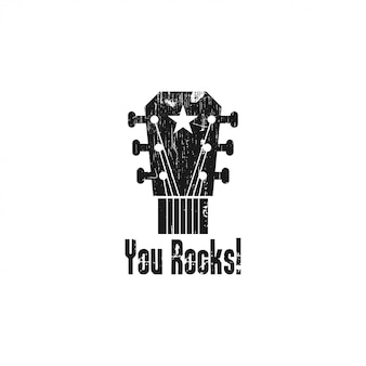 Illustration de modèle de logo de guitare rock