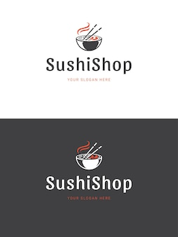 Illustration De Modèle De Logo De Restaurant De Sushi Vecteur Premium