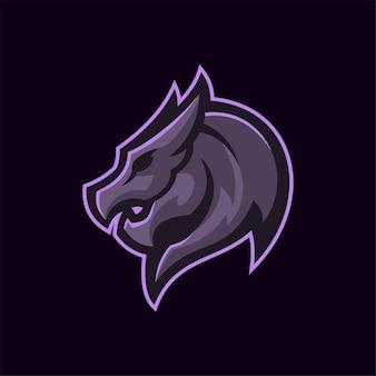 Illustration de modèle de logo de tête d'animal de dragon. jeu de logo esport vecteur premium