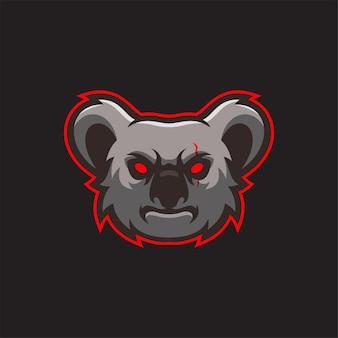 Illustration de modèle de logo de tête d'animal de koala. jeu de logo esport vecteur premium