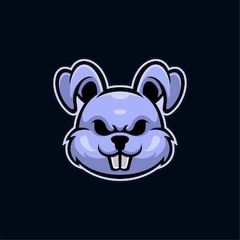 Illustration de modèle de logo de tête d'animal de lapin. jeu de logo esport vecteur premium