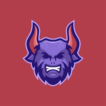 Illustration de modèle de logo de tête de diable. jeu de logo esport vecteur premium