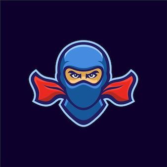 Illustration de modèle de logo de tête de ninja. jeu de logo esport vecteur premium