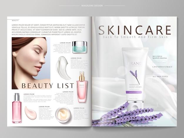 Illustration de modèle de magazine cosmétique