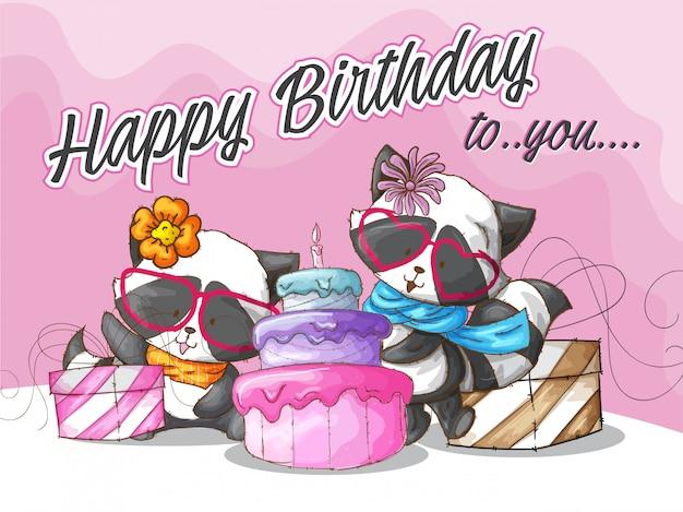 Illustration de modèle mignon joyeux anniversaire de raton laveur