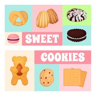 Illustration de modèle de pâtisserie de cookies. beignet de biscuit sucré, une délicieuse gâterie sucrée, pour des bonbons