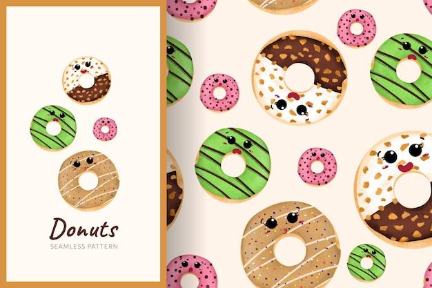 Illustration de modèle sans couture de beignets sucrés de dessin animé mignon