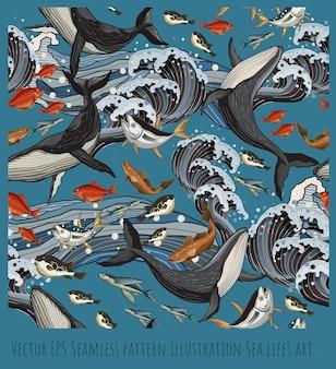 Illustration de modèle sans couture dessinés à la main baleine et poisson de mer nageant.