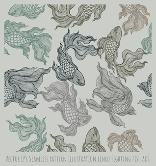 Illustration de modèle sans couture dessinés à la main couleur bordée de poissons de combat.