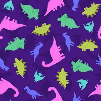 Illustration de modèle sans couture de dinosaures mignons et drôles