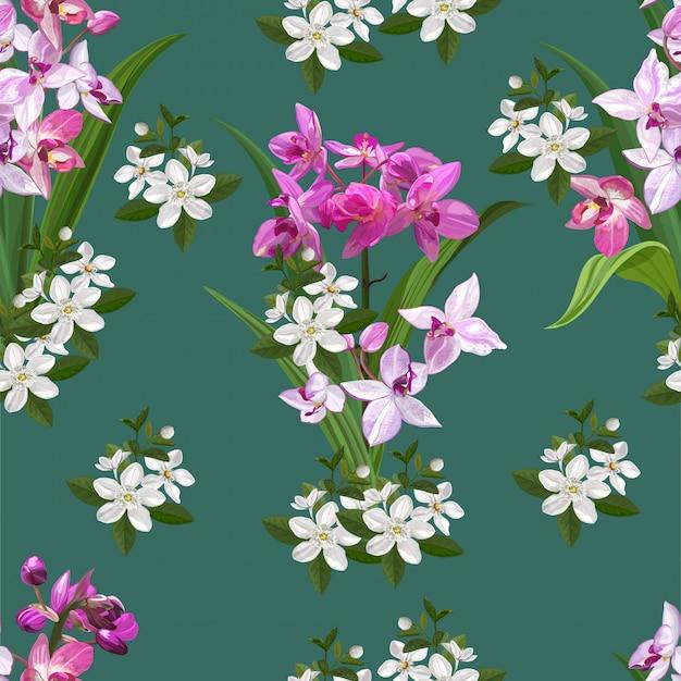 Illustration de modèle sans couture de fleur d'orchidée au sol