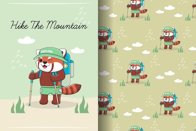 Illustration et modèle sans couture de mignon panda rouge randonnée