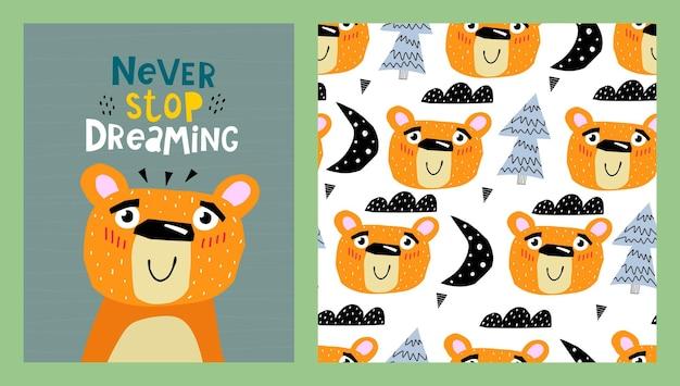 Illustration et modèle sans couture avec des ours de dessin animé