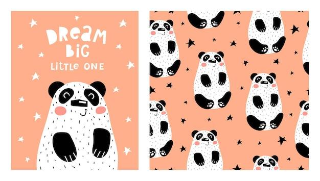 Illustration et modèle sans couture avec des pandas de dessin animé.