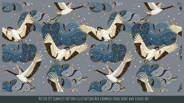 Illustration de modèle sans couture de vecteur art japonais d'oiseaux de grue à couronne rouge.