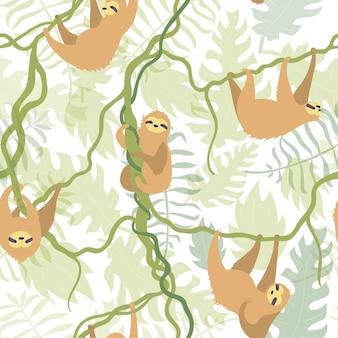 Illustration de modèle sans couture de vecteur de paresseux de caractère mignon. bébé dessin animé isolé paresseux d'escalade.