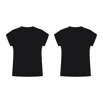 Illustration de modèle vierge de t-shirt noir pour enfants. t-shirt de croquis technique isolé sur fond blanc.