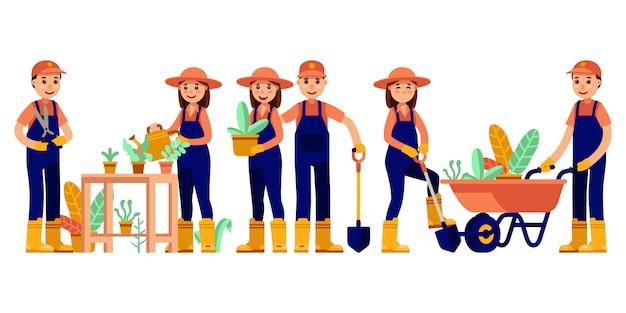 Illustration moderne de l'activité de jardinage de couple