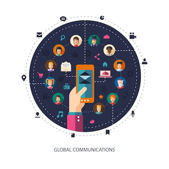 Illustration moderne de la communauté de réseau social de personnes