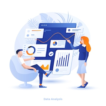 Illustration moderne couleur - analyse des données