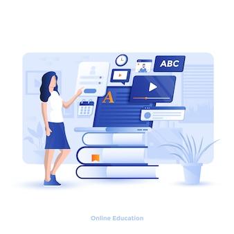 Illustration moderne couleur - éducation en ligne