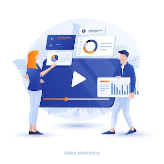 Illustration moderne couleur - marketing vidéo