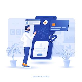 Illustration moderne couleur - protection des données