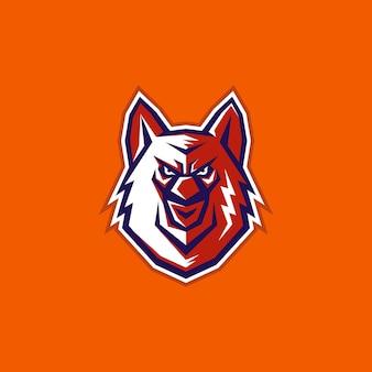 Illustration moderne créative caractère tête de renard ou de loup e sport emblème logo signe icône vecteur de conception